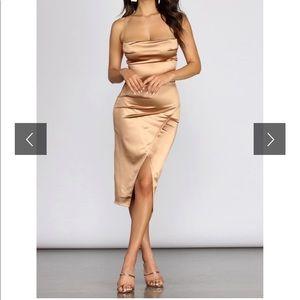✨Windsor Bronze/Gold Satin Cowl Neck Midi Dress